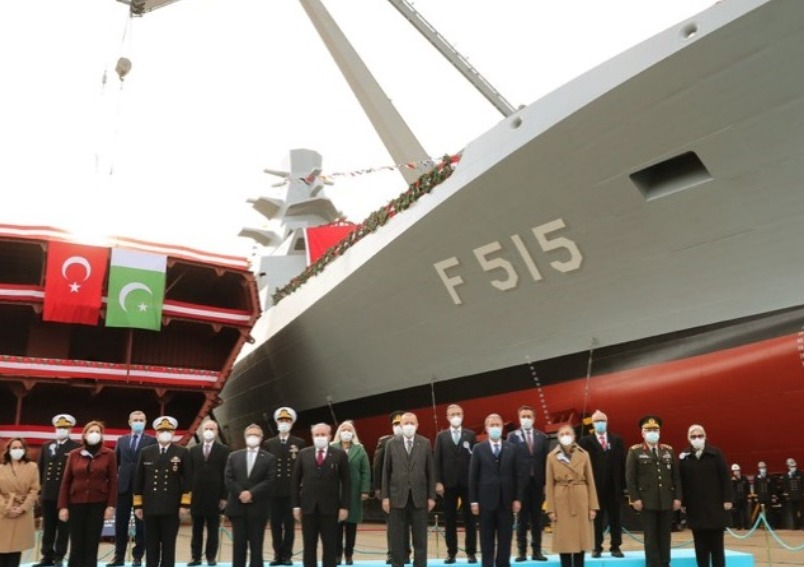 "Turkish President and Pakistan Ambassador jointly performed the ""Welding Ceremony"" of 3rd MILGEM Corvette for Pakistan Navy"