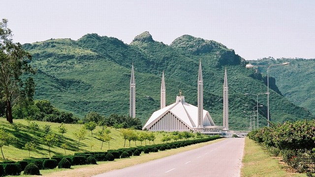 Faisal Mosque with Margala hills in the background, Islamabad