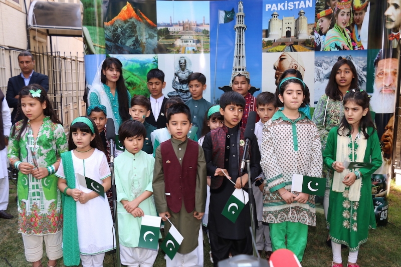 Pakistan Embassy School students presenting national songs