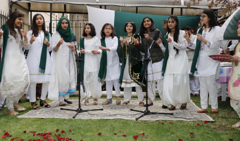 Pakistan Embassy students performing during flag-hoisting